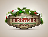 Christmas and New Year wood sign with holiday decor on tan