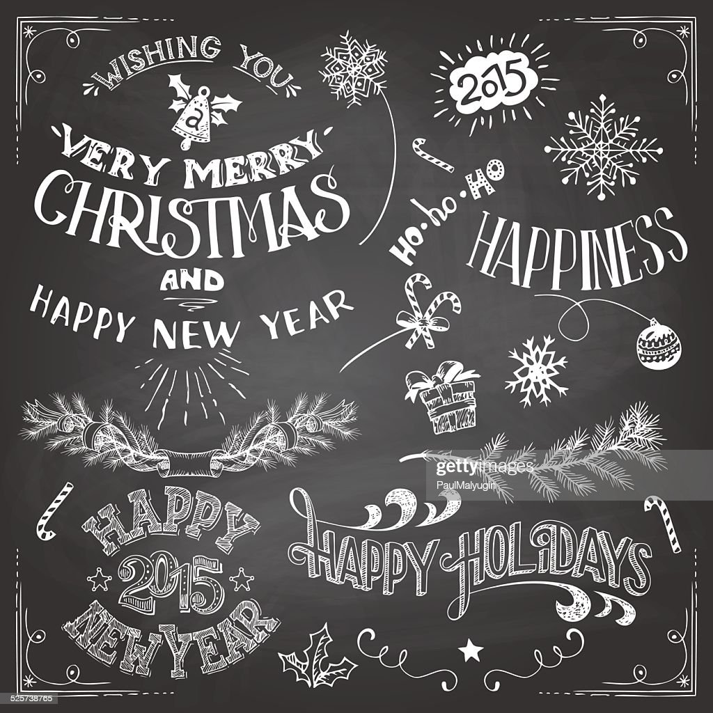 christmas and new years chalkboard elements set vector art getty