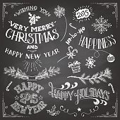 Christmas and New Years chalkboard elements set