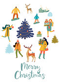 Christmas and New Year's poster or card with people. Vector retro style illustration.