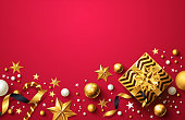 Christmas and New Years Red background with golden gift box,ribbon and christmas decoration elements for Retail,Shopping or Christmas Promotion in golden and red style