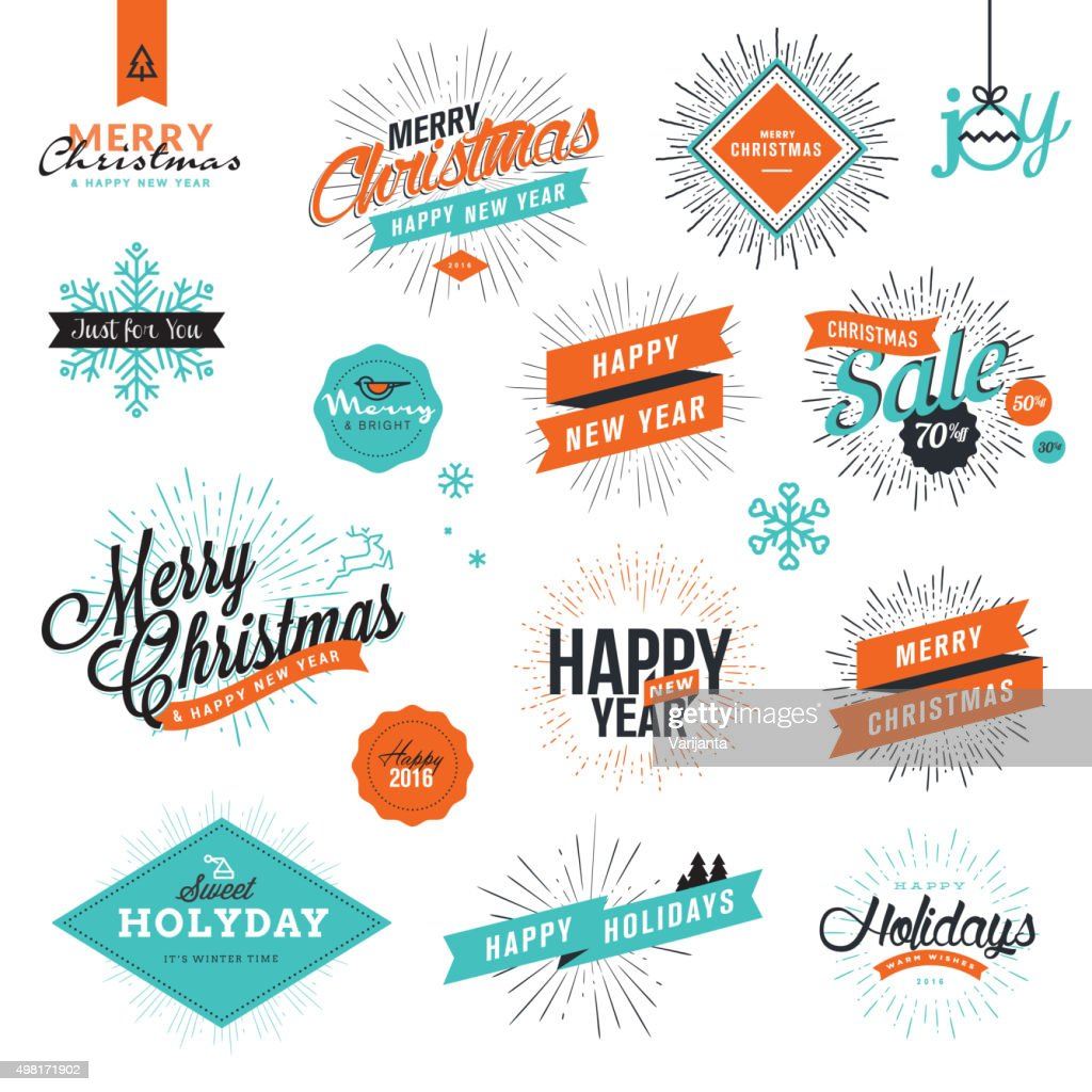Christmas and New Year's vintage style signs