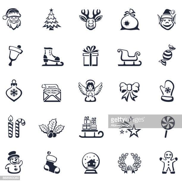 christmas and winter icons - mistletoe stock illustrations