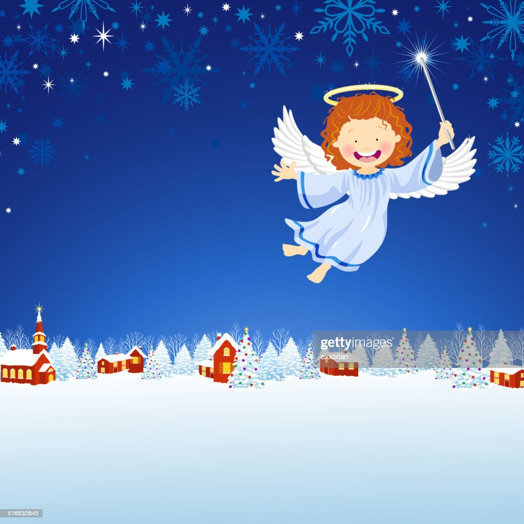 Christmas Angel Flying in the Winter Town