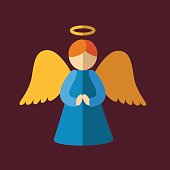 Christmas angel icon. Isolated vector illustration.