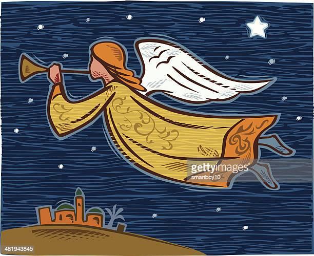 ilustraciones, imágenes clip art, dibujos animados e iconos de stock de navidad angel - nacimiento de navidad
