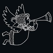 Christmas angel with pipe. Vector illustration