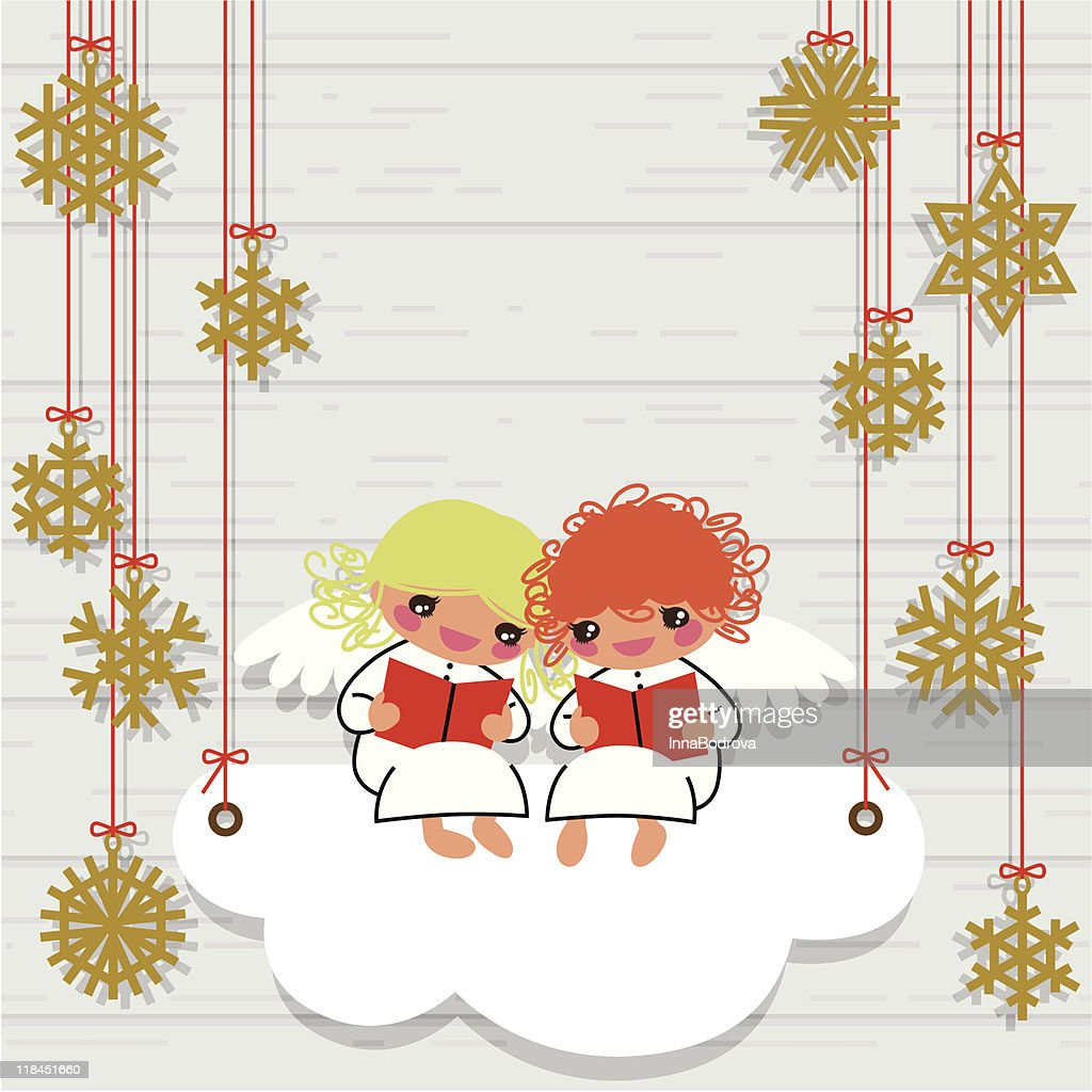 Christmas Angels And Snowflakes Vector Art | Getty Images