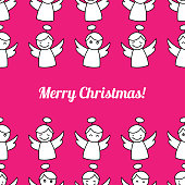 Christmas Angels. Seamless vector background with Angels. Cute cartoon. Textile rapport.