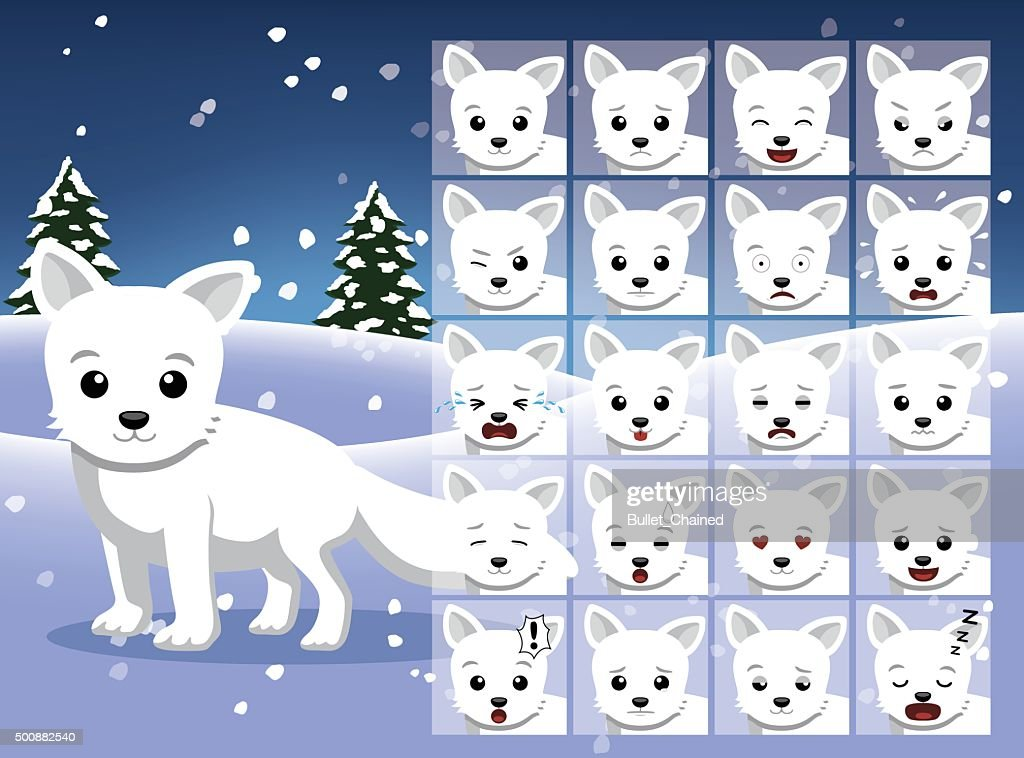 Christmas Arctic Fox Cartoon Emotion faces Vector Illustration