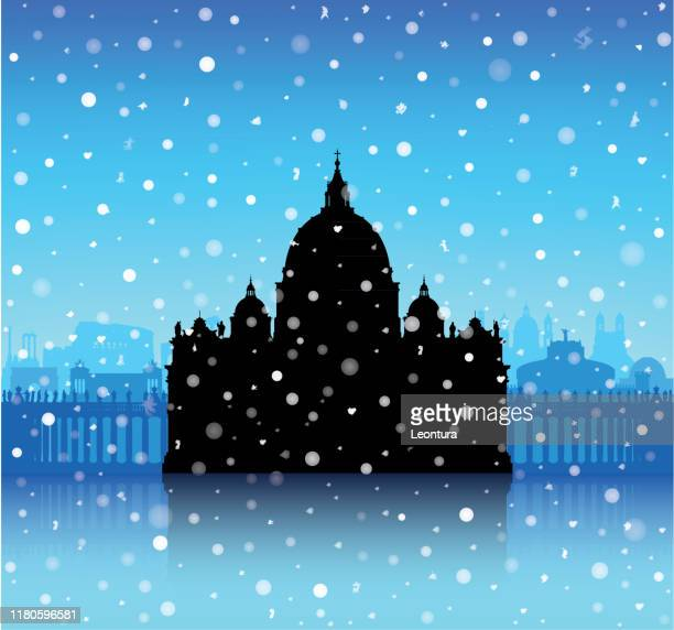 ilustrações de stock, clip art, desenhos animados e ícones de christmas at saint peter's basilica, vatican - st. peter's basilica the vatican