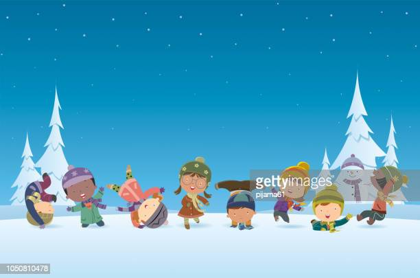christmas background and kids - child stock illustrations
