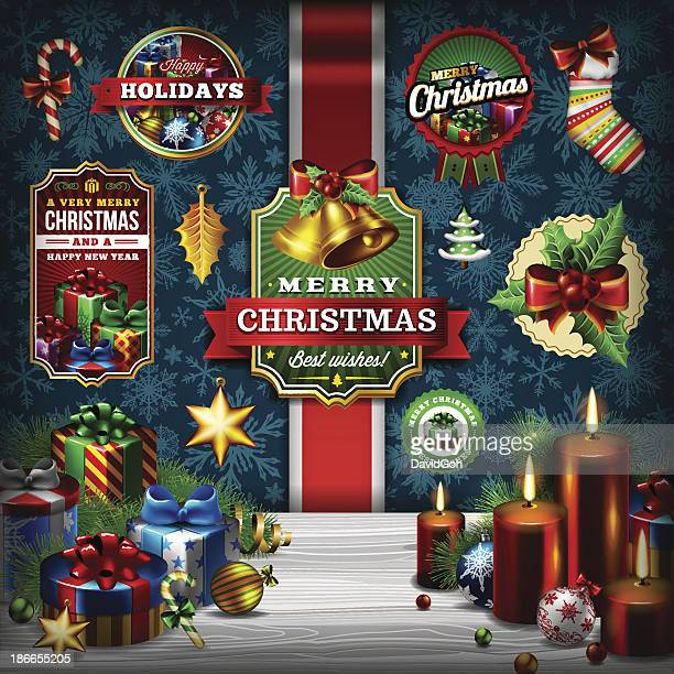 A Christmas background and label set