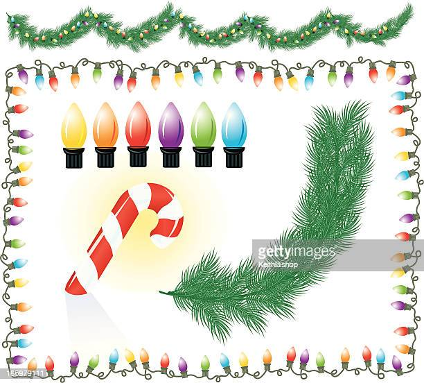Christmas Background Decortations - Garland, Lights, Candy Cane