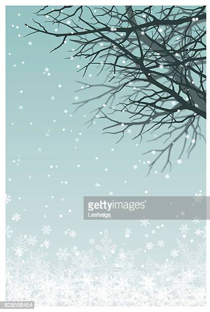 christmas background [tree branch on the snowy field] - frost stock illustrations, clip art, cartoons, & icons