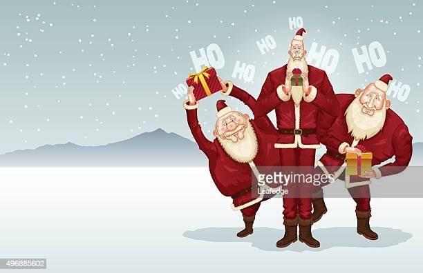 Christmas background [Trio of Santa Claus]
