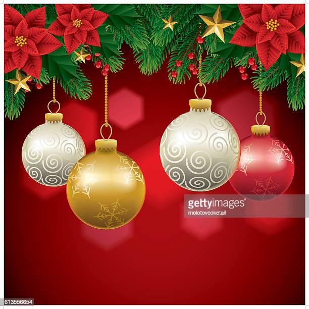ilustraciones, imágenes clip art, dibujos animados e iconos de stock de fondo de navidad  - flor de pascua