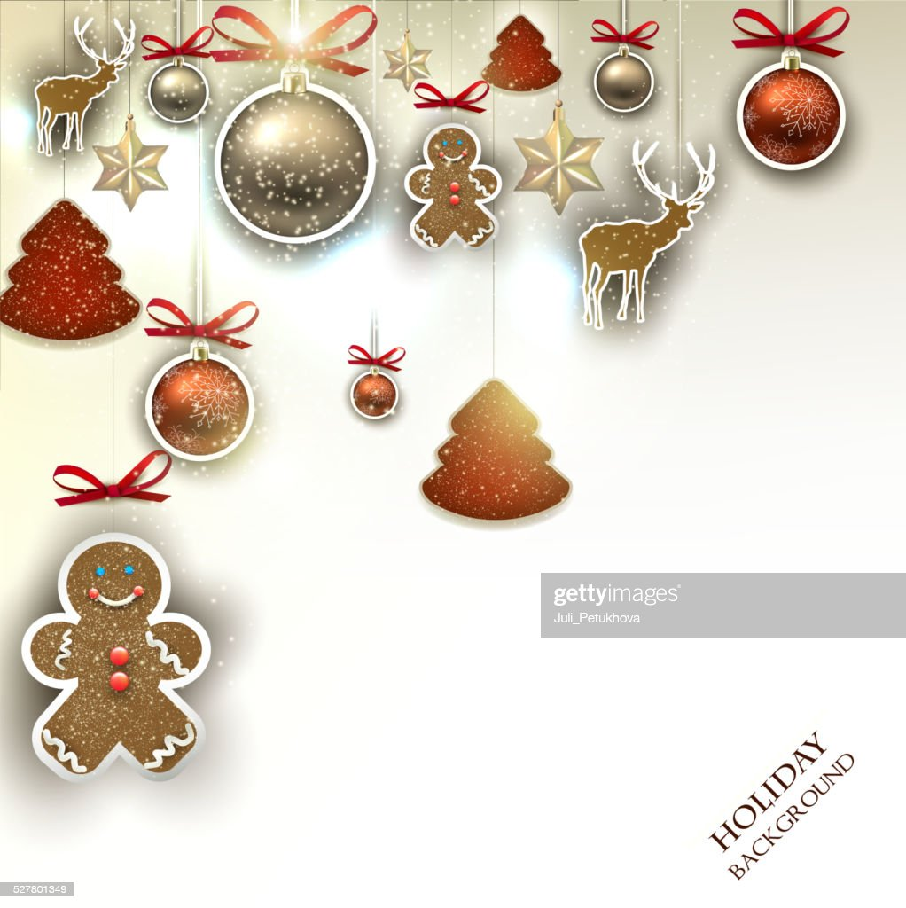 Christmas background with  Christmas toys, balls and  stars. Xma