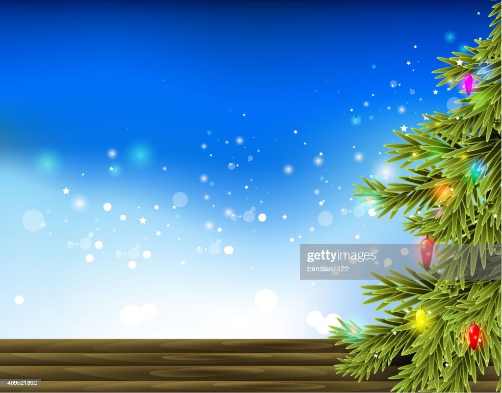 Christmas background with decorated tree