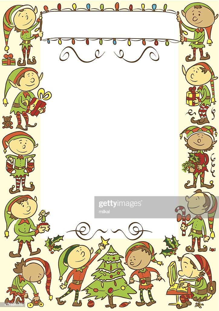 Christmas background with elves