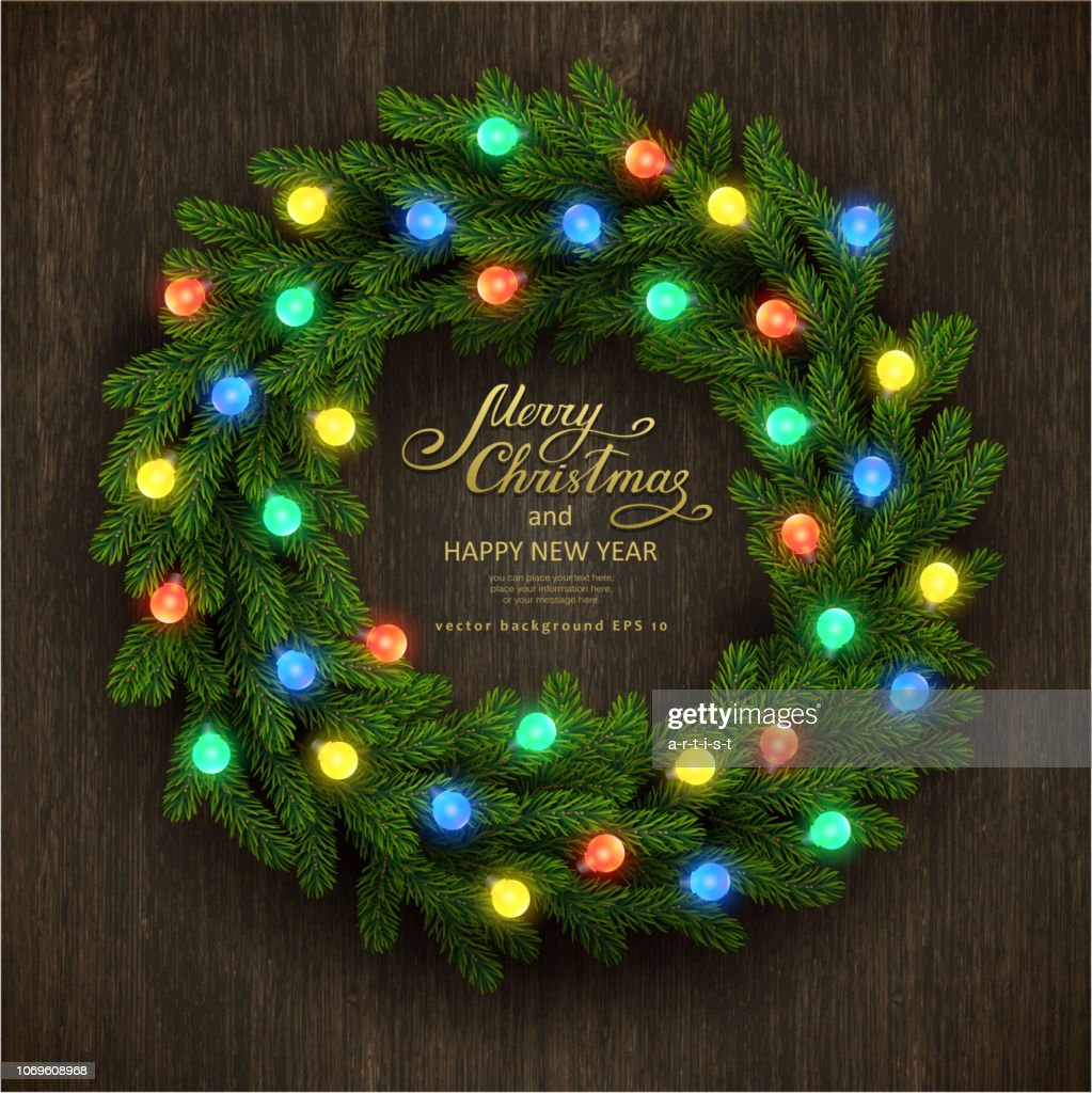 Christmas background with fir garland : stock illustration