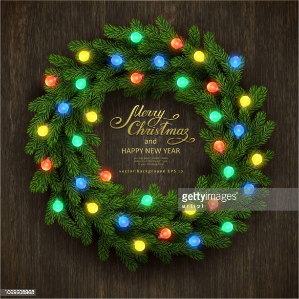 christmas background with fir garland - christmas wreath stock illustrations