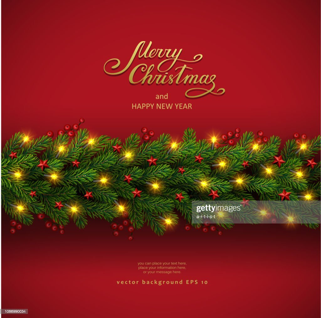 Christmas background with fir tree and electric garland : stock illustration