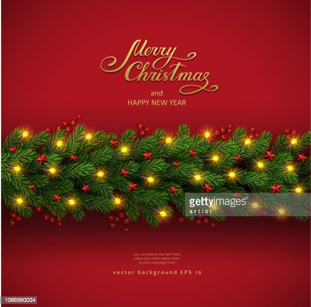 christmas background with fir tree and electric garland - spruce tree stock illustrations