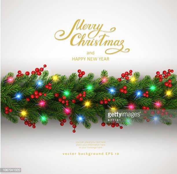 christmas background with fir tree and electric garland - illuminated stock illustrations