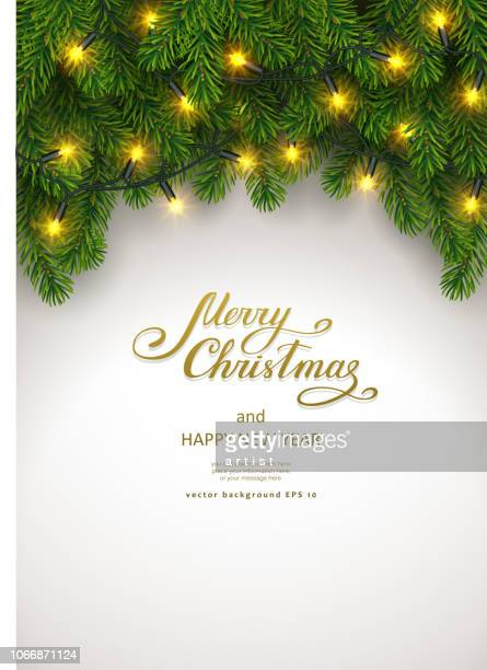 christmas background with fir tree and garland - spine stock illustrations