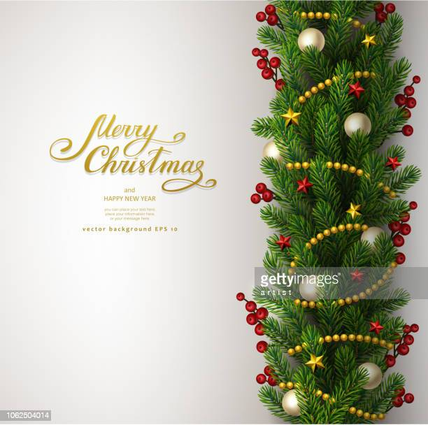 christmas background with fir tree - christmas wreath stock illustrations