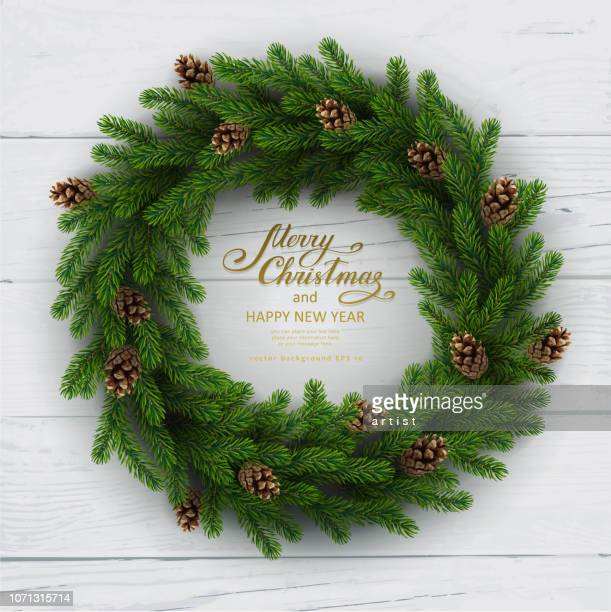christmas background with fir tree - wreath stock illustrations