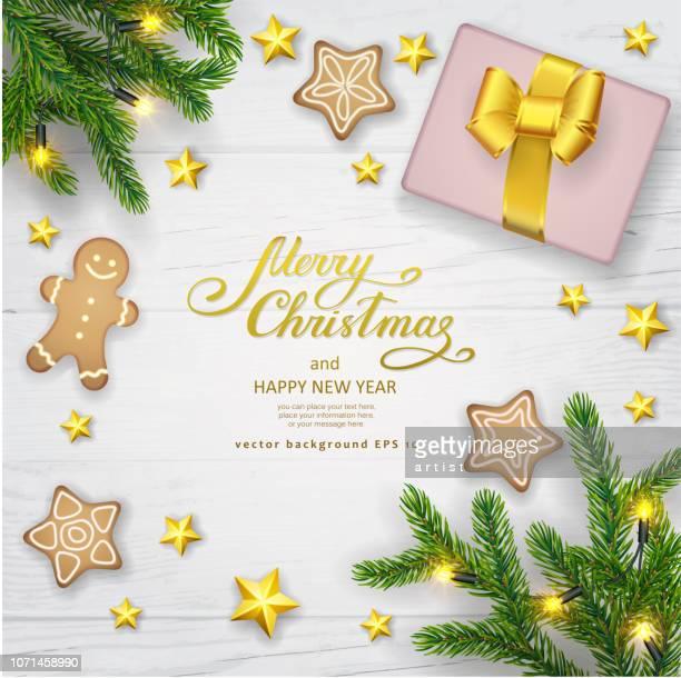 ilustraciones, imágenes clip art, dibujos animados e iconos de stock de fondo de navidad con abeto - galletas navidad