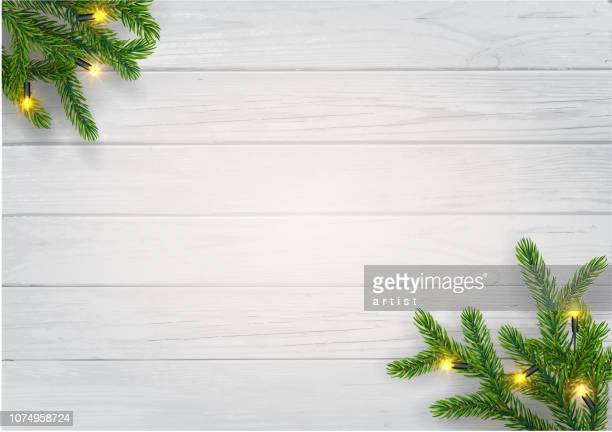 christmas background with fir tree - wood material stock illustrations