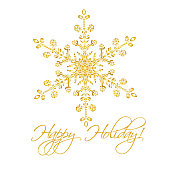 Christmas background with hand-drawn snowflake