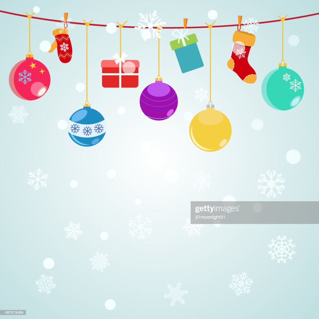 Christmas background with hanging gift boxes, socks and christma