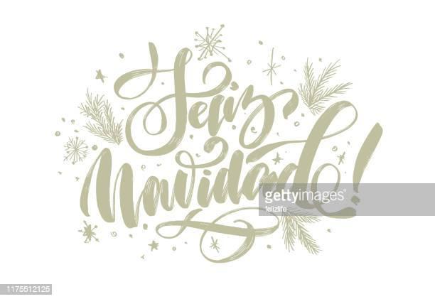 "ilustrações de stock, clip art, desenhos animados e ícones de christmas background with lettering ""merry christmas"" in spanish ""feliz navidad"" for design of flyers, cards, web, postcard - christmas"