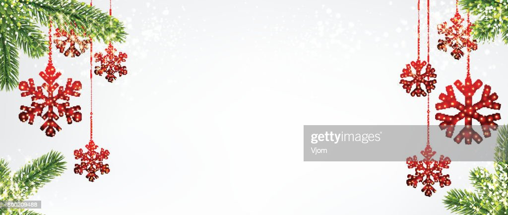 Christmas background with red snowflakes.