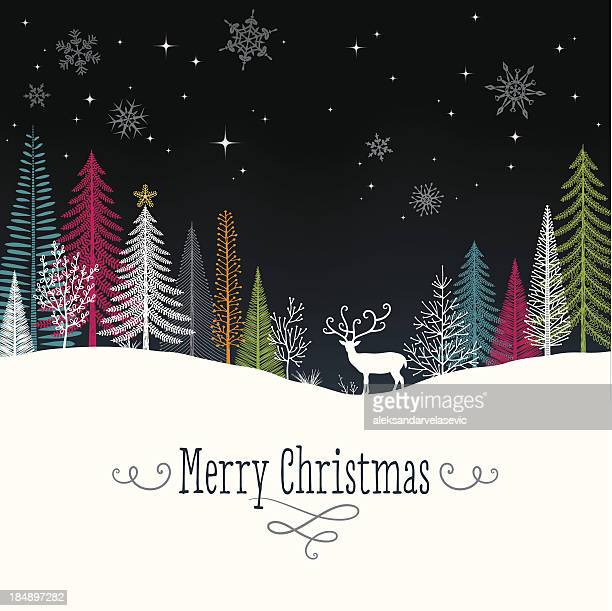 christmas background with reindeer - modern stock illustrations, clip art, cartoons, & icons