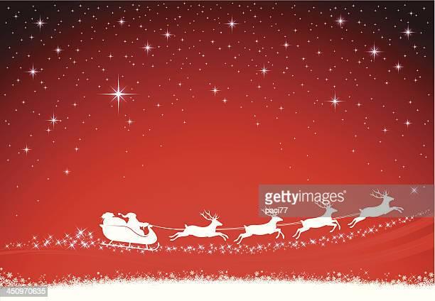 サンタクロースがクリスマスの背景 - サンタ ソリ点のイラスト素材/クリップアート素材/マンガ素材/アイコン素材
