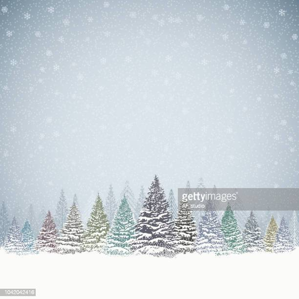 Christmas Background with Trees and Mountains