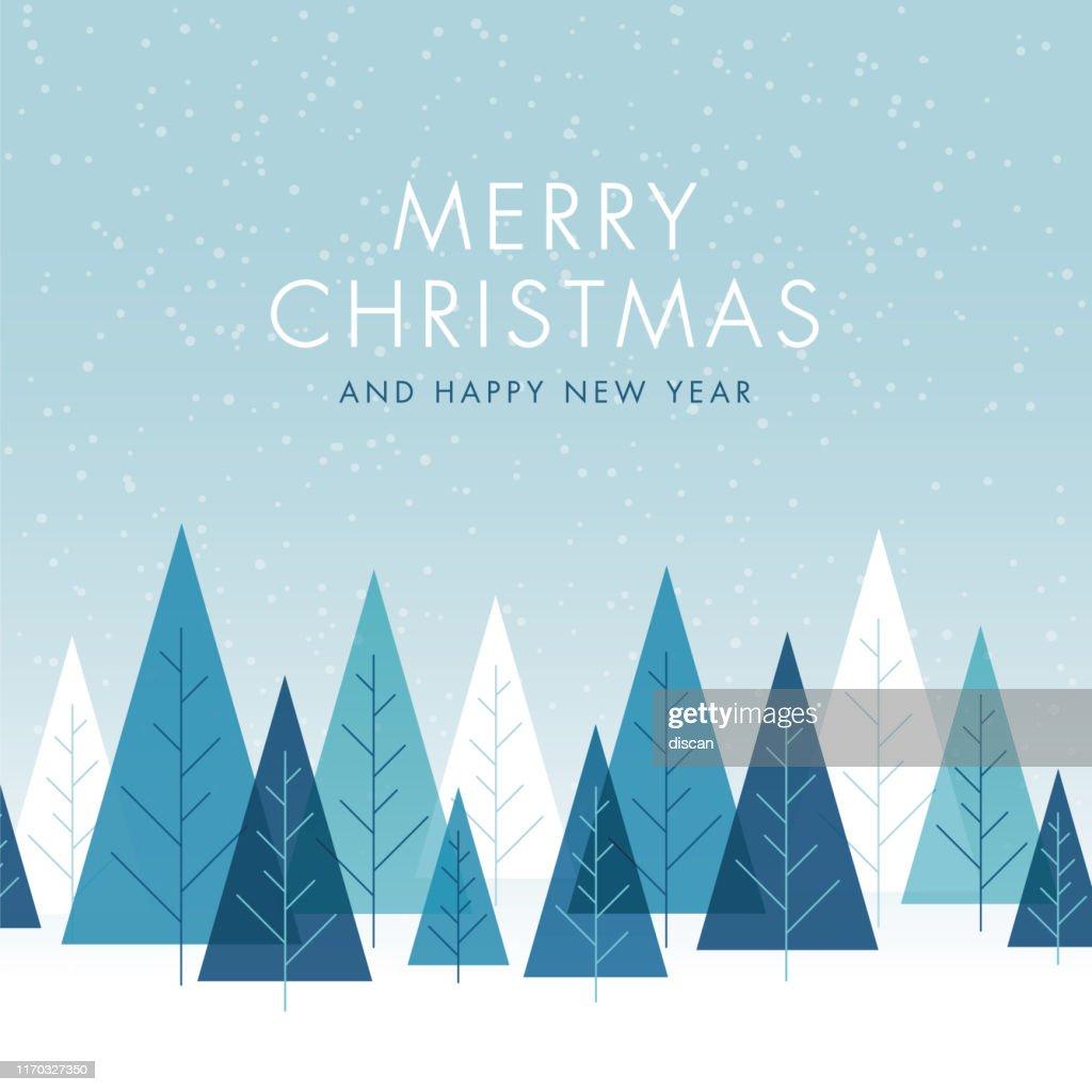 木とクリスマスの背景。 : ストックイラストレーション