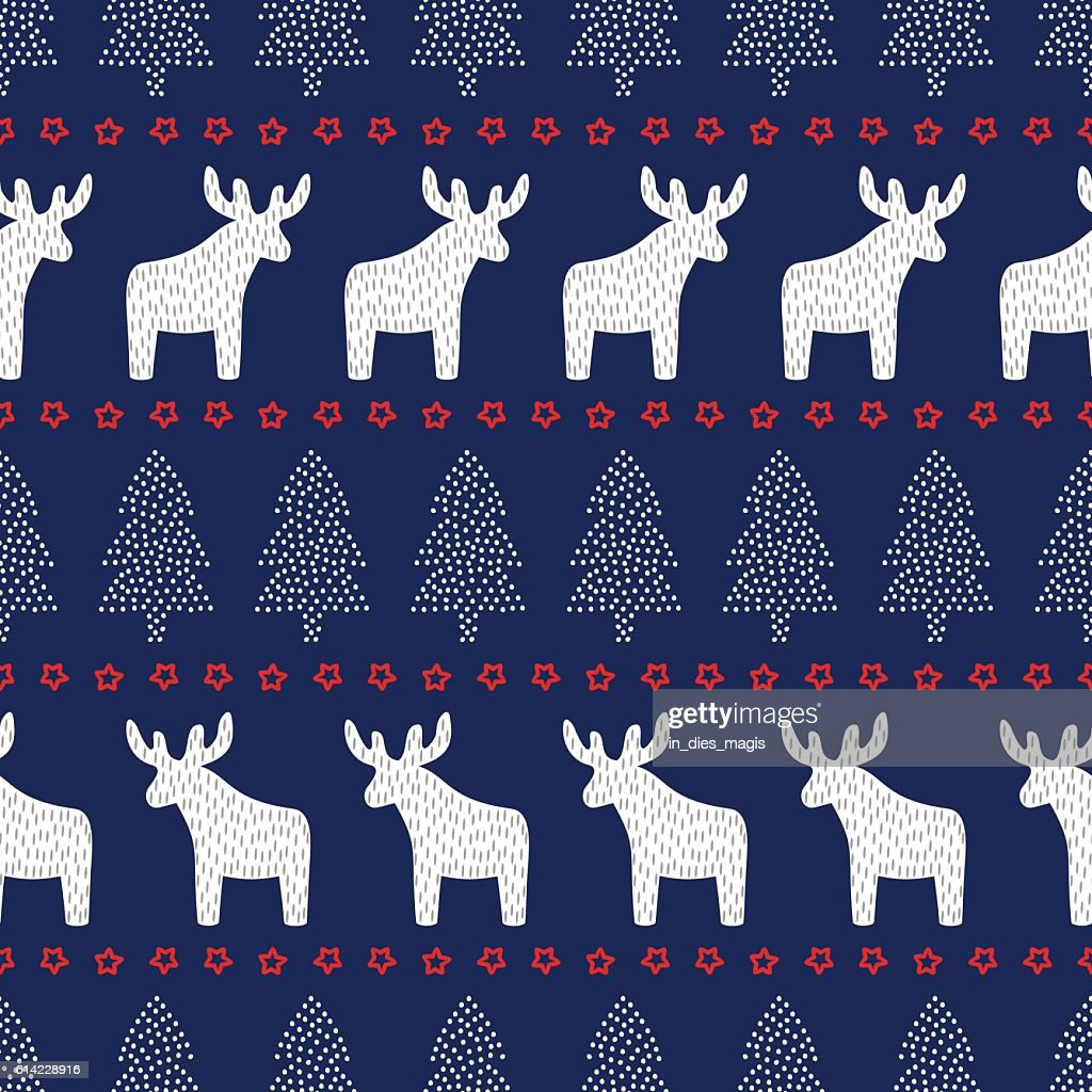 Christmas background - Xmas trees, deers and stars.