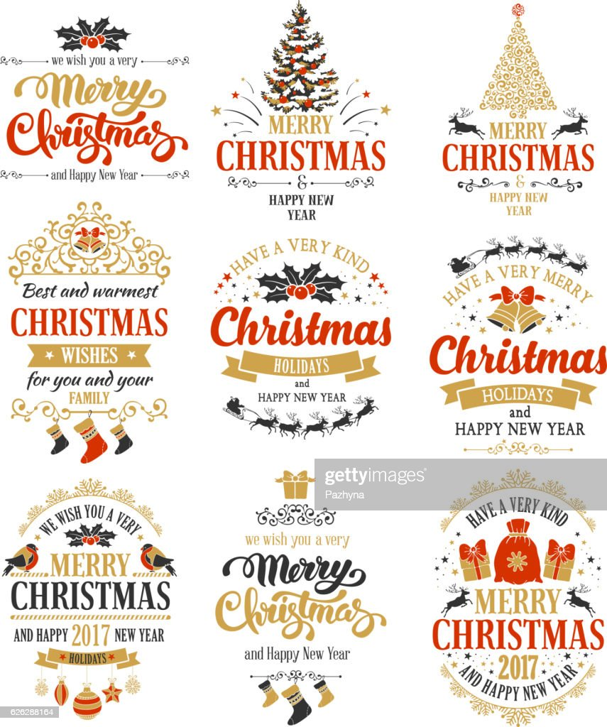 Christmas badges set