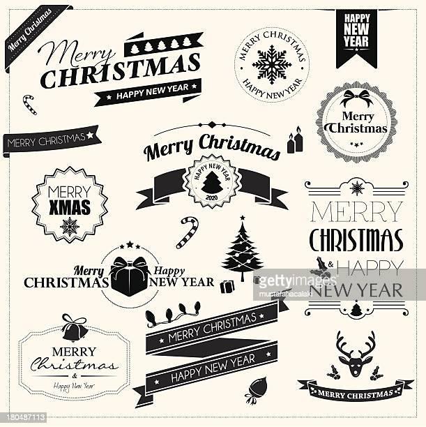 ilustrações, clipart, desenhos animados e ícones de emblemas de natal - etiqueta mensagem