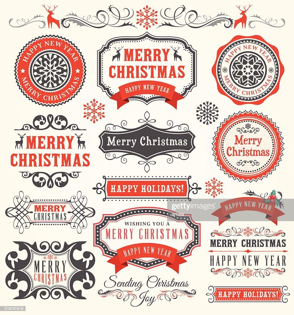 Christmas Badges : stock illustration