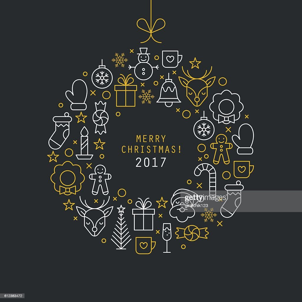 Christmas ball design with thin line icons. Vector illustration