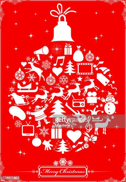 christmas ball - gift tag note stock illustrations