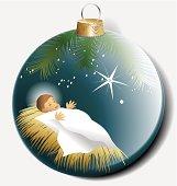 Christmas ball with baby Jesus