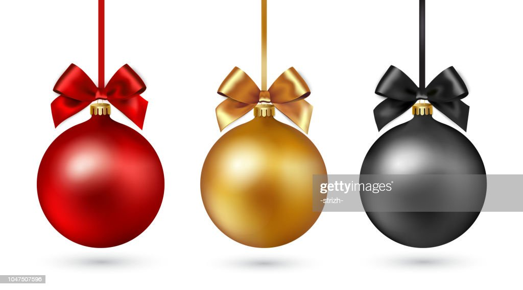Christmas ball with ribbon and bow on white background. Vector illustration.